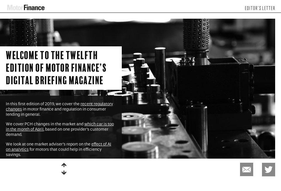 Editor's Letter - Motor Finance | Issue 12 | June 2019